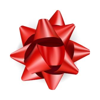 Fiocco rosso di lusso per regali dal design realistico. arco decorativo del regalo isolato su bianco