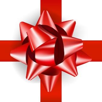 Fiocco rosso di lusso per regali dal design realistico. fiocco regalo decorativo isolato su bianco
