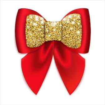 Fiocco rosso festivo con decorazioni dorate. isolato