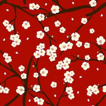 Fiore bianco del fiore della prugna su fondo rosso