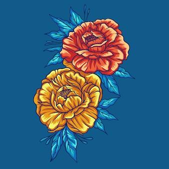 Fiore d'autunno sul blu