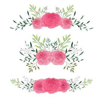 Fiore del mazzo floreale per progettazione dell'ornamento dell'invito di nozze