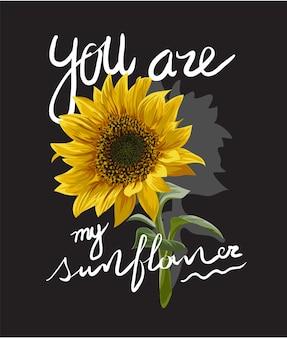 Fiore del sole con l'illustrazione di slogan
