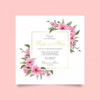 Fiore dell'invito di cerimonia nuziale e stile dell'acquerello del foglio verde