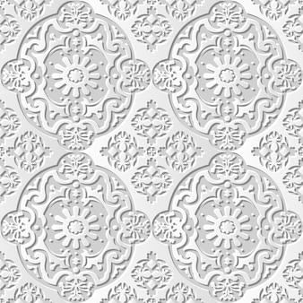 Fiore di caleidoscopio ovale di arte di carta 3d del modello senza cuciture del damasco