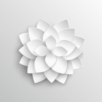 Fiore di loto del libro bianco 3d nell'illustrazione di vettore di stile di origami. fiore carta di loto, fiore in fiore