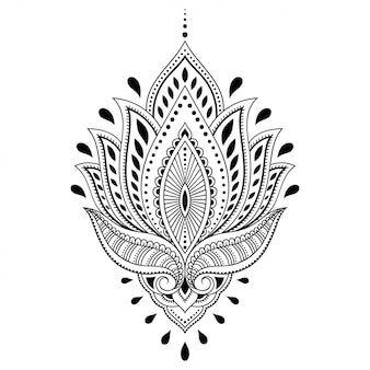 Fiore di loto mehndi. decorazione in stile orientale, indiano. ornamento doodle. illustrazione di tiraggio della mano di contorno