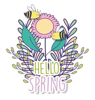 Fiore di primavera con rami foglie e api