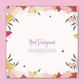 Fiore di sfondo floreale e coccinella