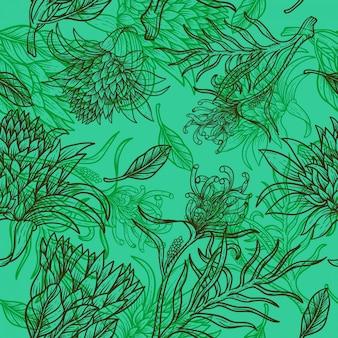 Fiore foglie linea disegnare a mano design vintage