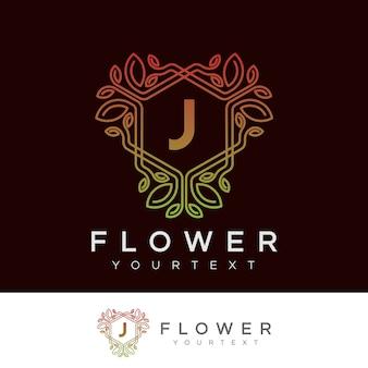 Fiore iniziale lettera j logo design
