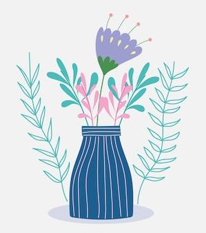 Fiore nella botanica selvaggia dell'erba del fogliame del vaso