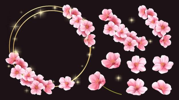 Fiore rosa, cornice dorata e illustrazione scintillante