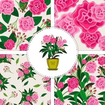 Fiore rosa in vaso e quattro motivi floreali impostati