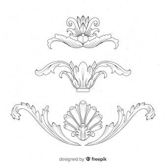 Fiori barocchi vintage disegnati a mano realistici