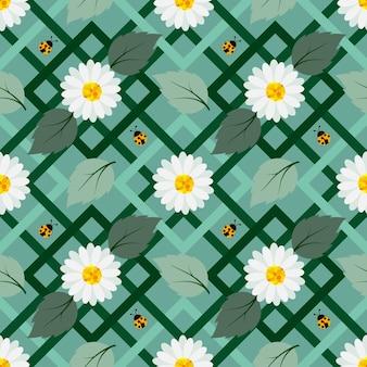 Fiori bianchi con seamless pattern coccinella