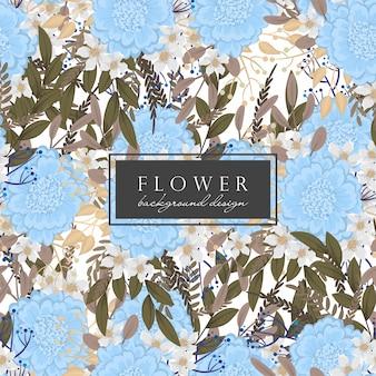 Fiori blu floreali senza soluzione di continuità