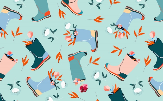 Fiori con motivo a wellies. modello senza cuciture di colore pastello blu aqua morbido. mood primaverile e composizione floreale pasquale. celebrazione delle vacanze di pasqua. bello per il web e la stampa.