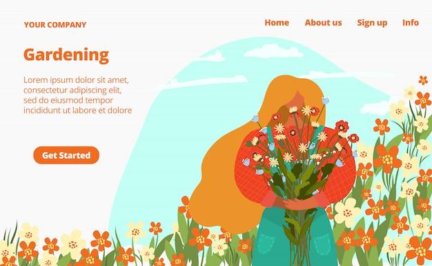Fiori del giardino di estate e piante verdi da vendere l'illustrazione piana della pagina web. prendersi cura di fiori e piante, sito di giardinaggio.