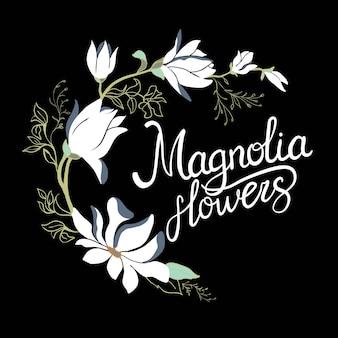 Fiori del telaio della magnolia sul ramo isolato su fondo bianco. set di magnolia dell'acquerello