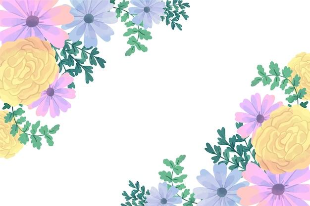 Fiori dell'acquerello per tema di sfondo in colori pastello