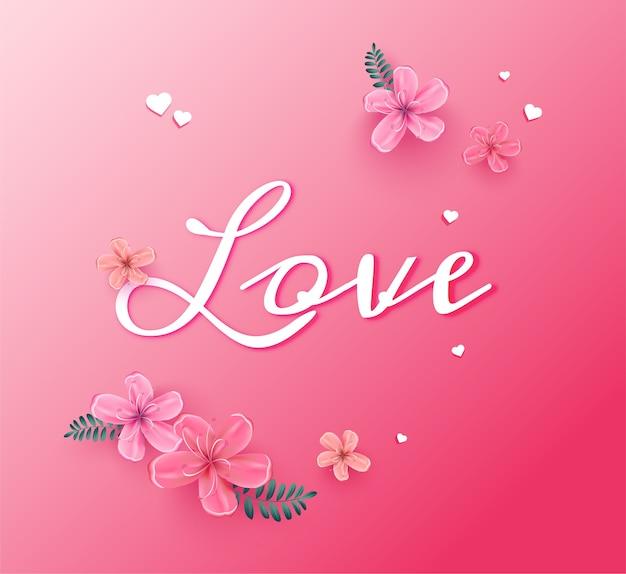 Fiori di ciliegio con testo amore
