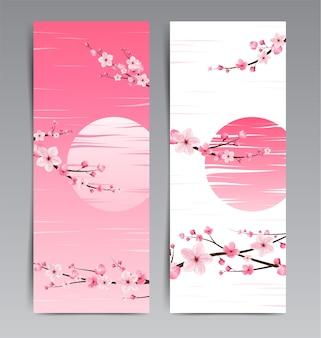 Fiori di ciliegio, giappone sakura, layout del modello