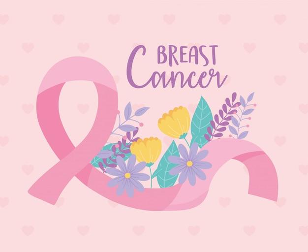 Fiori di consapevolezza del cancro al seno e disegno vettoriale ispiratore del nastro e illustrazione