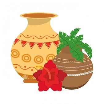 Fiori di loto indiani e vasi decorativi in porcellana con foglie