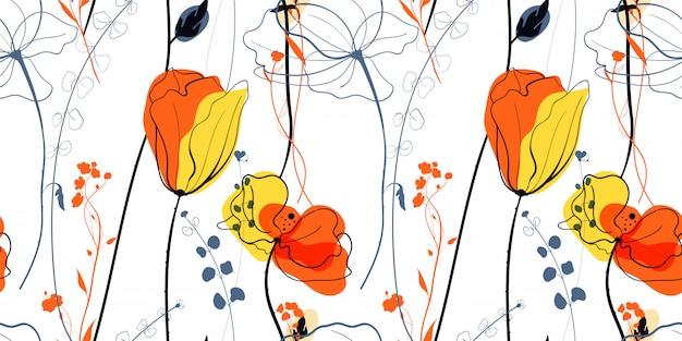 Fiori di papavero di prato in stile scandinavo