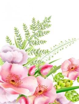 Fiori di peonia dell'acquerello con carciofo e foglie verdi