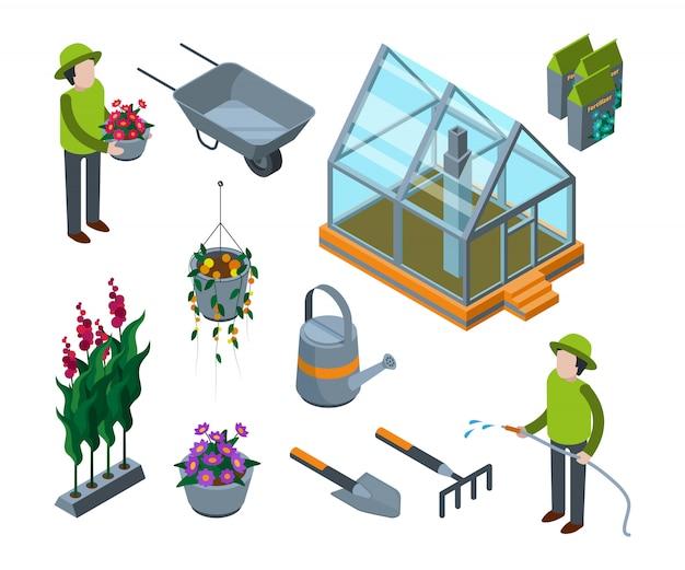 Fiori di serra. serra agricola 3d con la s isometrica della scuola materna degli alberi da frutto degli ortaggi da frutto delle piante