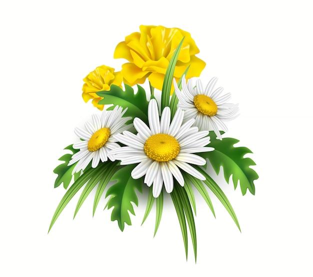 Fiori diasy gialli realistici e fiordaliso in bouquet elegante