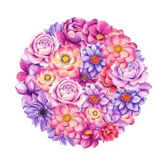 Fiori dipinti a mano dell'acquerello a forma di cerchio