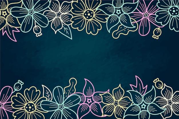 Fiori disegnati a mano con sfondo spazio copia