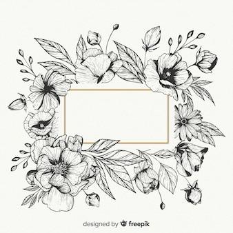 Fiori disegnati a mano realistici con banner bianco