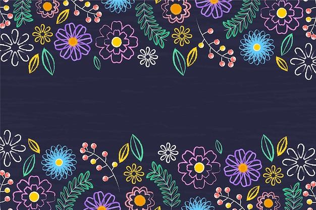 Fiori disegnati a mano su sfondo di lavagna