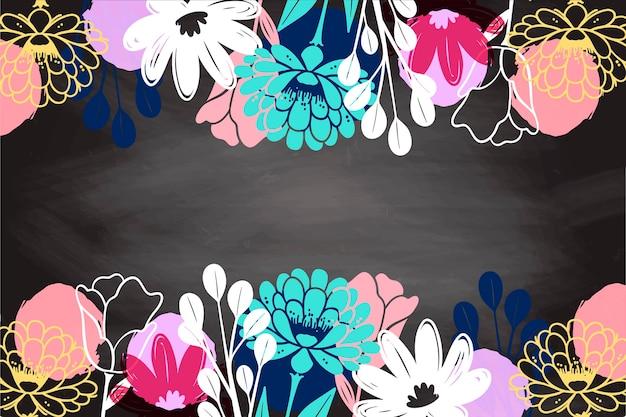 Fiori disegnati a mano sul fondo della lavagna