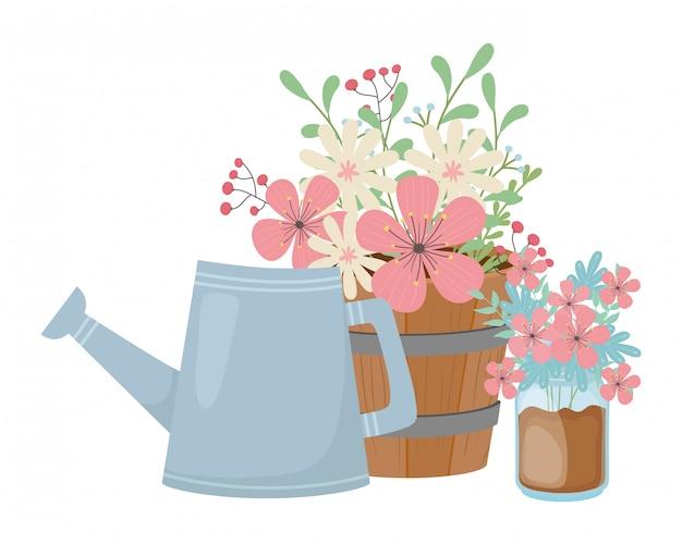 Fiori e foglie all'interno di vasi