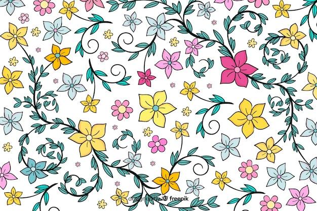 Fiori e foglie disegnati a mano