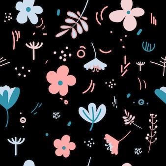 Fiori e foglie graziosi colori pastello primaverili. modello floreale
