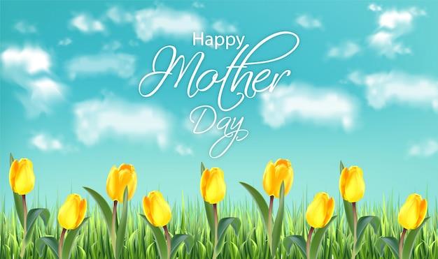 Fiori gialli del tulipano di giorno di madre