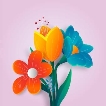 Fiori in stile primavera a gradiente