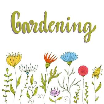 Fiori originali crescenti. bordo floreale con lettering giardinaggio