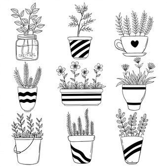 Fiori primaverili imprecisi in vaso per la decorazione. simpatici fiori disegnati a mano