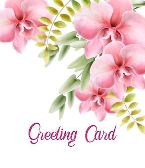 Fiori rosa dell'acquerello con il mazzo delle foglie