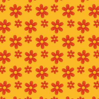 Fiori rossi su sfondo giallo