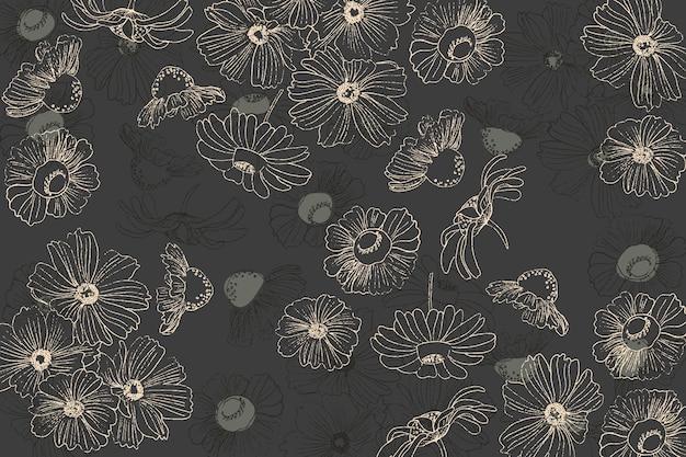Fiori sulla lavagna a disposizione disegnati