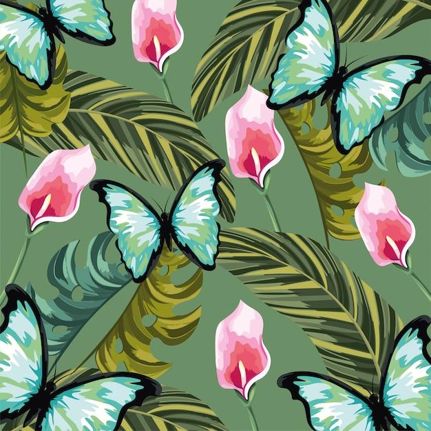 Fiori tropicali con sfondo di foglie e farfalle