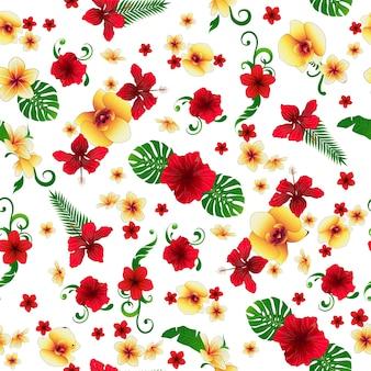 Fiori tropicali. sfondo floreale. reticolo senza giunte di fiori.